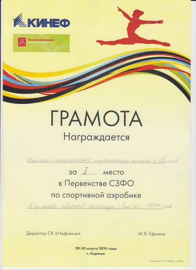 Грамота за 1-е место в возрастной категории 15-17 лет